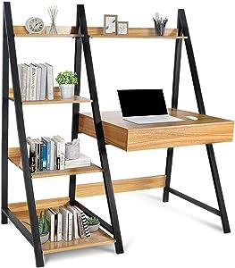 Modern 4-TierLadder Bookcase - MultipurposeBookshelves Organizer for Living Room Kitchen Home Office Storage Shelves with Writing Table, Metal Frame & 1 Drawer (Walnut)