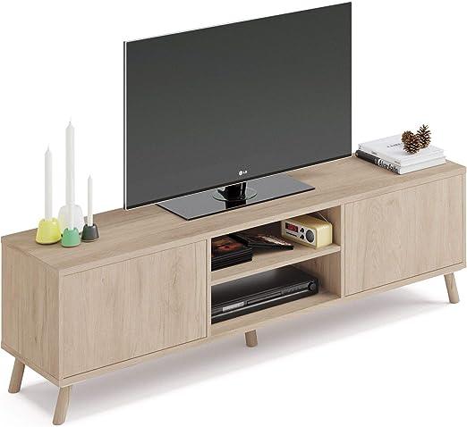 Pitarch Mueble TV Alde Salon Moderno Color Roble 2 Puertas Push 2 Huecos Comedor nordico 160x52x40: Amazon.es: Hogar