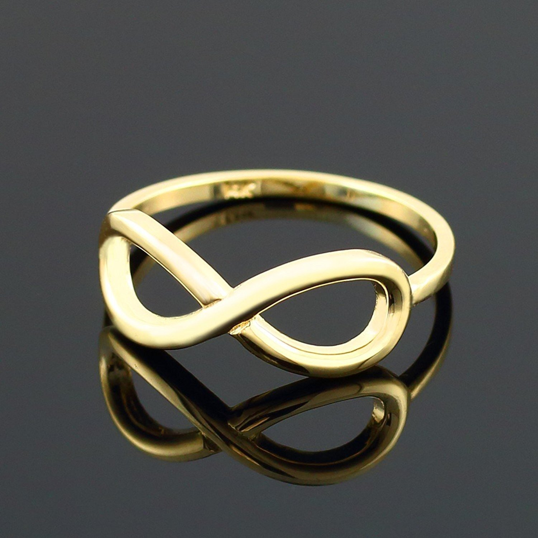 10k Yellow Gold Infinity Ring in Elegant Polished Finish (7.75)