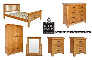 Oak Furniture - Oak Bed - Double Bed Bedroom Furniture Deal ...