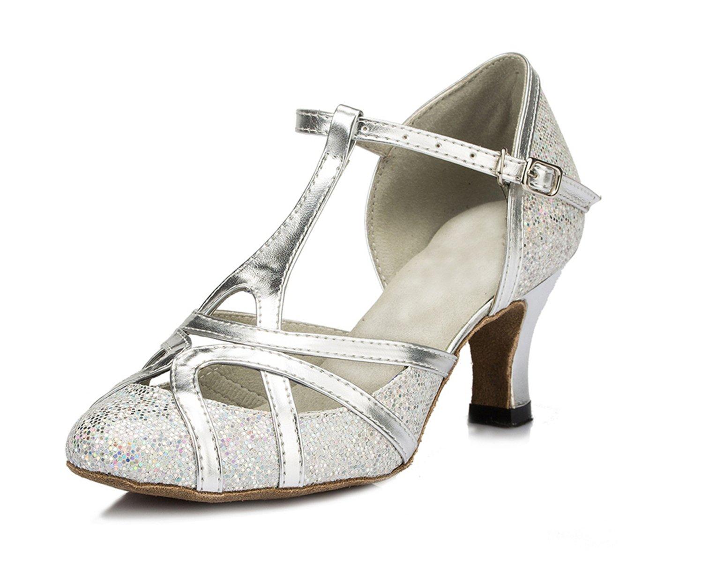 Minishion Women's T-Strap Silver Glitter Salsa Tango Ballroom Latin Dance Shoes Wedding Pumps 9.5 US