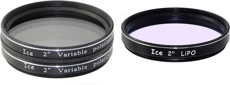 ICE 2 Telescope Filter Set Variable Polarizing Moon Polarizer /& LiPo Broadbrand Light Pollution Reducer Optical Glass