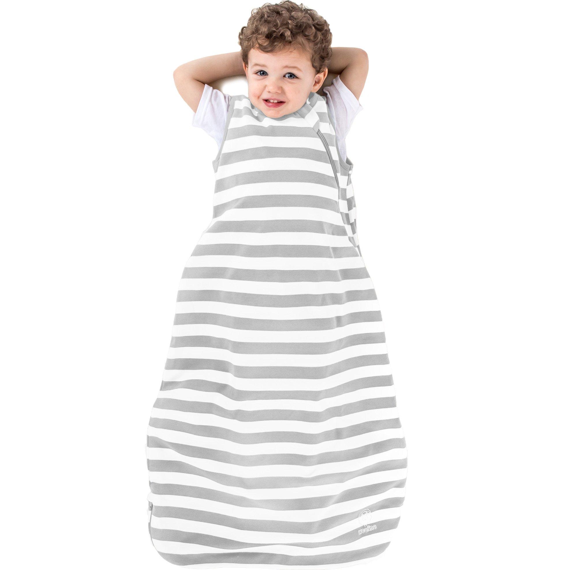 Woolino Organic Cotton Toddler Sleep Bag or Sack - Toddler Sleeping Bag - 18-36 Mo, Silver