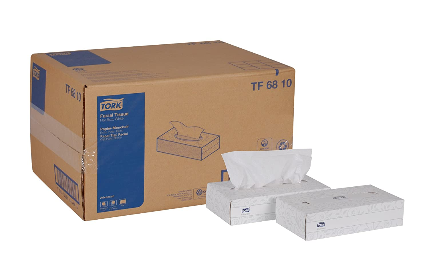 Tork Advanced TF6810 Facial Tissue, Flat Box, 2-Ply, 8.2\