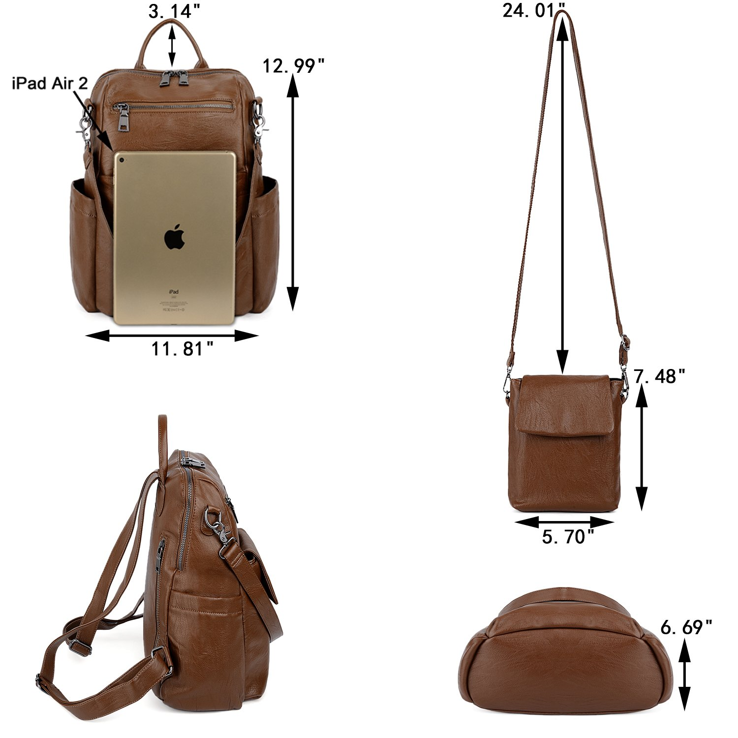 UTO Women Backpack Purse PU Washed Leather Ladies Rucksack Detachable Crossbody Shoulder Bag B Brown by UTO (Image #7)