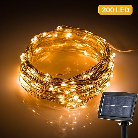 Cadena de Luces, Solar Tira Lamparas, Guirnalda de Luces 22m con 200 LED,