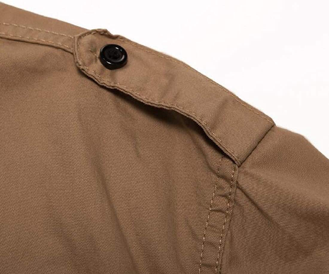 Domple Mens Outdoor Plain Button Down with Pocket Long Sleeve Casual Shirts