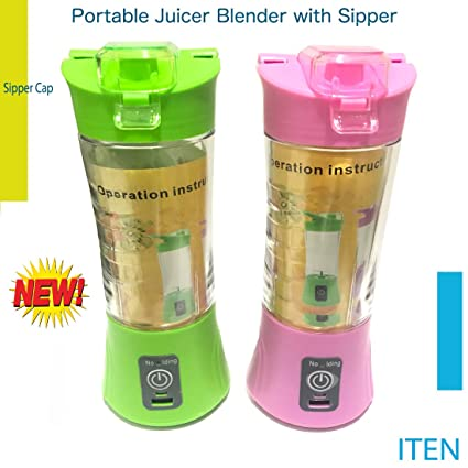 Iten New Portable Usb Electric Juicer with Sipper,Blender With Power Bank 2000 Mah - 380Ml Juicer Cup (MULTI COLOUR) Centrifugal Juicers at amazon