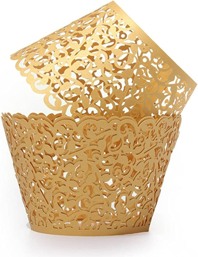 50 X Filigree Little Vine Lace Laser Cut Cupcake Wrapper Liner Baking Cup .hc
