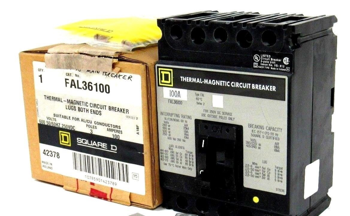 SCHNEIDER ELECTRIC FAL36100 Molded Case Circuit Breaker 600-Volt 100-Amp Electrical Box by Schneider Electric