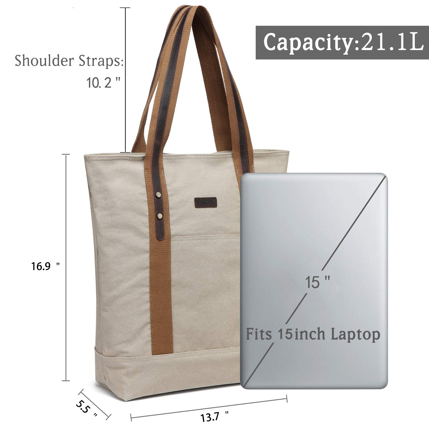 03bec5483 Amazon.com: Canvas Tote Bag,Vaschy Large Vintage Shopper Travel Tote Wok Bag  for Women with Leather Trim Strap Beige: Clothing