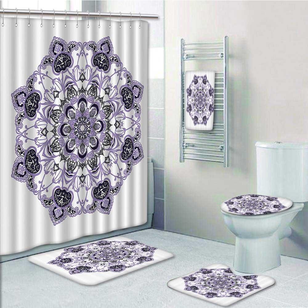 on sale 5 Piece Bath Rug Set,Kaleidoscope Style Ring of Eight ...