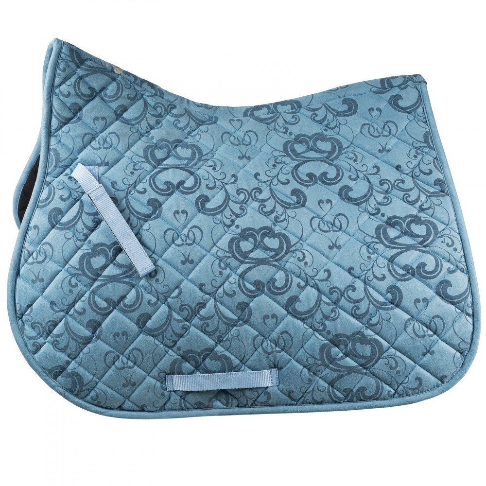Placid bluee Full Placid bluee Full Horze Trapani Scroll Print All Purpose Saddle Pad Quick Dry Breathable Lining