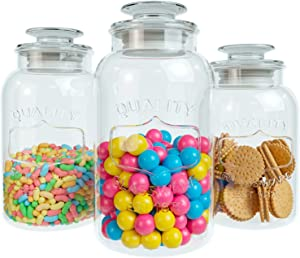 Home Intuition Heavy Glass Canister Set Airtight Lid Food Storage Jars for Kitchen or Bathroom Apothecary Candy Jar Storage with Lids – Set of 3 Containers