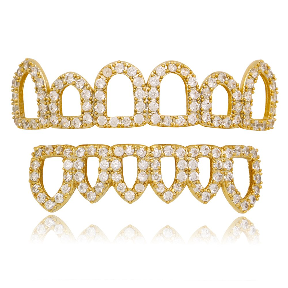 Lureen New Gold Pave CZ Open Face Outline 6 Top and Bottom Grillz Teeth Sets + 2 EXTRA Molding Bars