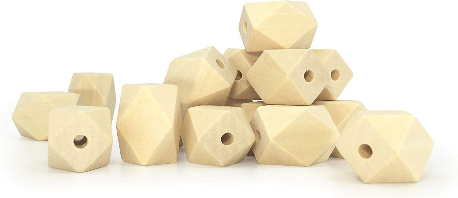 Natural Faceted Wooden Beads Cross Sections Geometric BeadsFor Jewelry Making