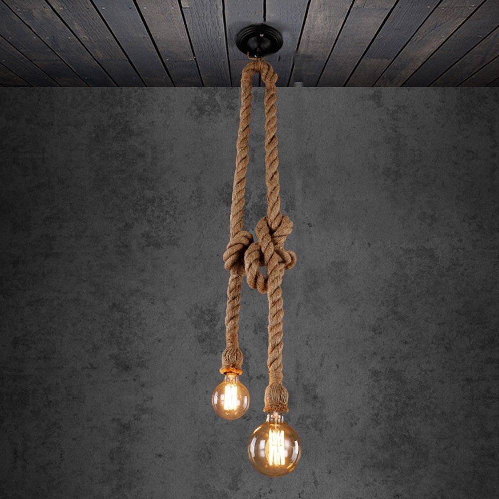 IAIZI Deckenleuchte Amerikanischen Hanfseil Kronleuchter Decken Licht Restaurant Kreative Lampe Nordic Cafe Kunst Bar Dekoration Pendelleuchte Einzigen Doppelkopf Kronleuchter (Größe   Double 1.5m)