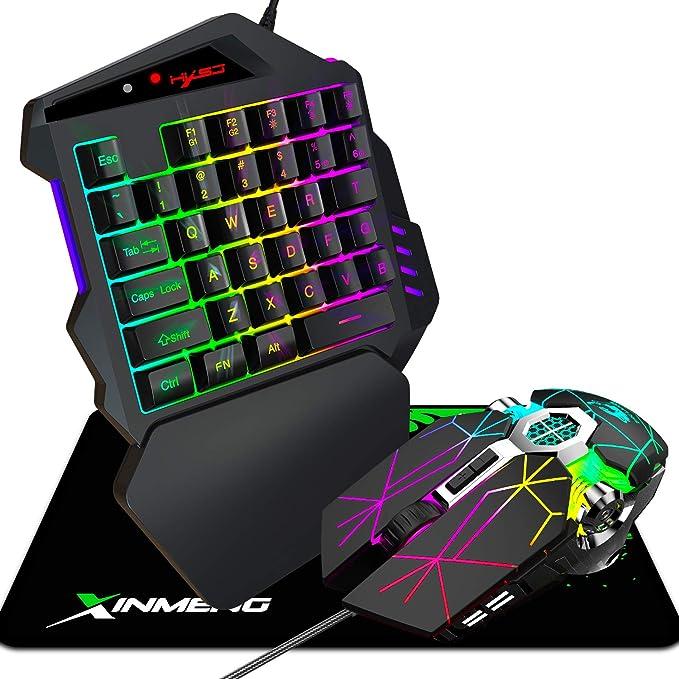 PS4 - Ratón con teclado para juegos con una sola mano, almohadilla para ratones, mini teclado portátil para juegos, ratones de juego programables para ...