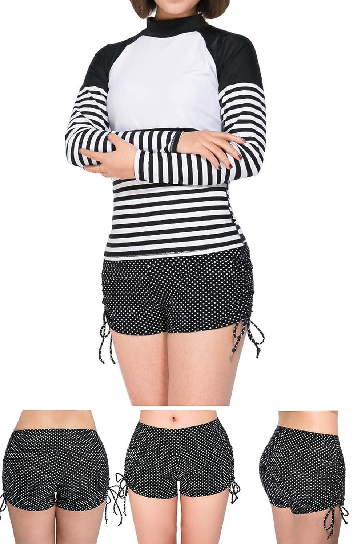 Bevalsa Damen Badeshorts Bikinihose UV Schutz Wassersport Hotpants Verstellbare Kordel B/ände Schwimmshorts Bunte Farben