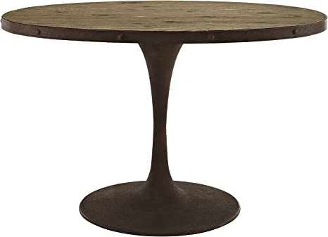 Amazon Com Modway Drive 47 Rustic Modern Farmhouse Kitchen And Dining Room Table With Oval Pine Wood Top And Iron Pedestal Base In Brown Tables