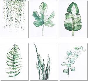 Botanical Plant Wall Art Prints Minimalist Wall Art Set of 6 Plant Leaf Posters Set Eucalyptus Green Photo Prints for Living Room Bedroom Decor Aesthetic Boho Wall Decor-8
