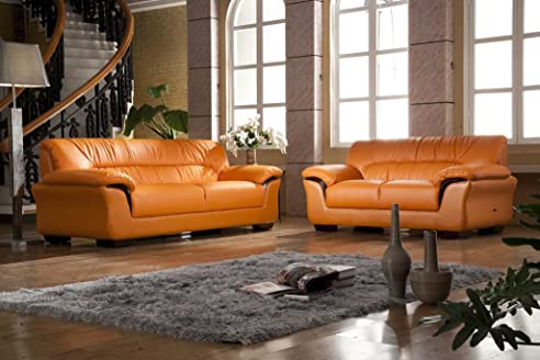 Design Voll-Leder Sofa Couch Garnitur Polstermöbel Sessel 327-3+2 ...