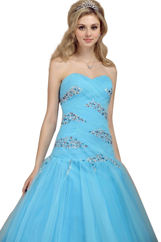 Snowskite Women's Charming Sweetheart Beaded Evening Prom Quinceanera Dress Blue 20