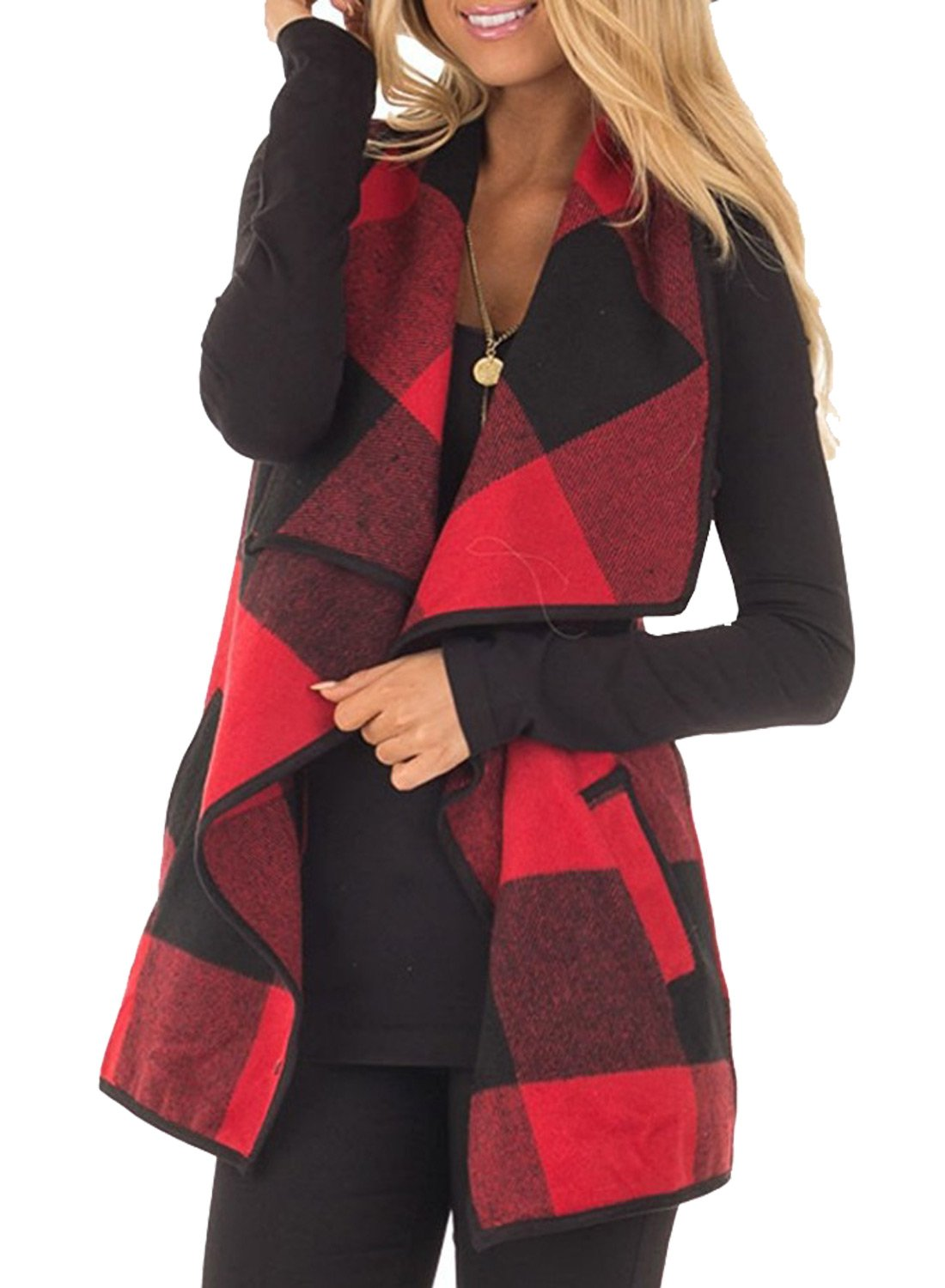 Naliha Women's Cardigan Vest Coat Plaid Irregular Gilet Casual Waistcoat Outwear PPCA022
