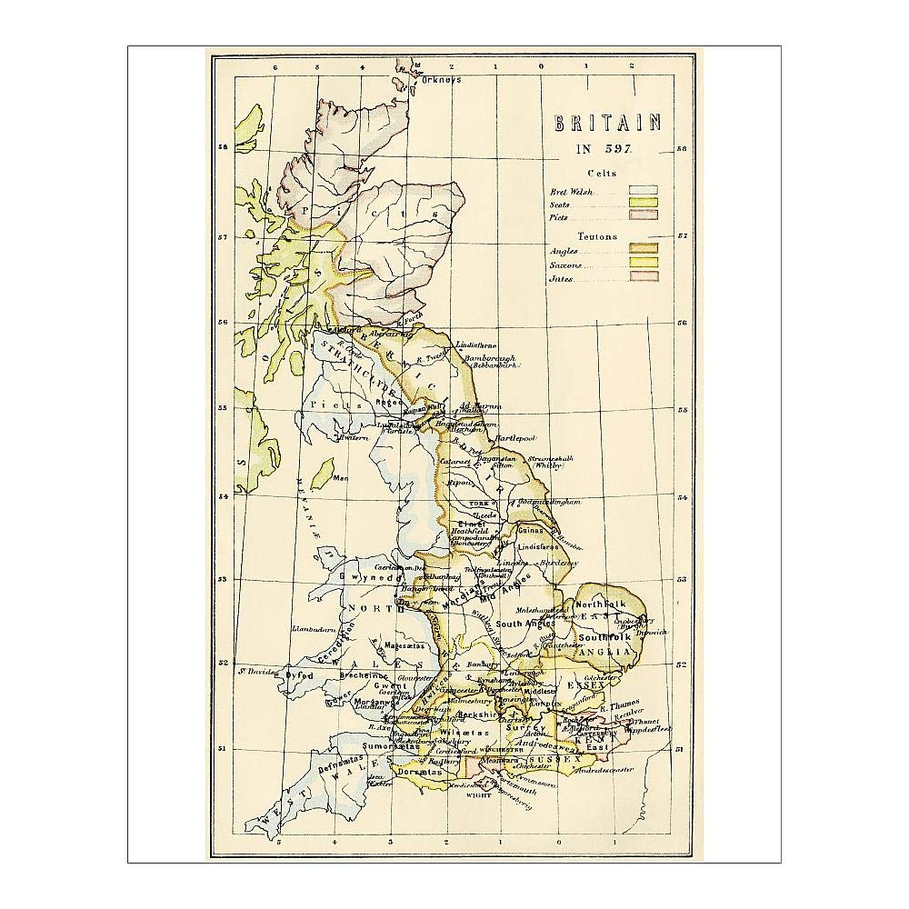 Map Of England 1000 Ad.Amazon Com Photographic Print Of Map Of Britain In 597 Ad By Media