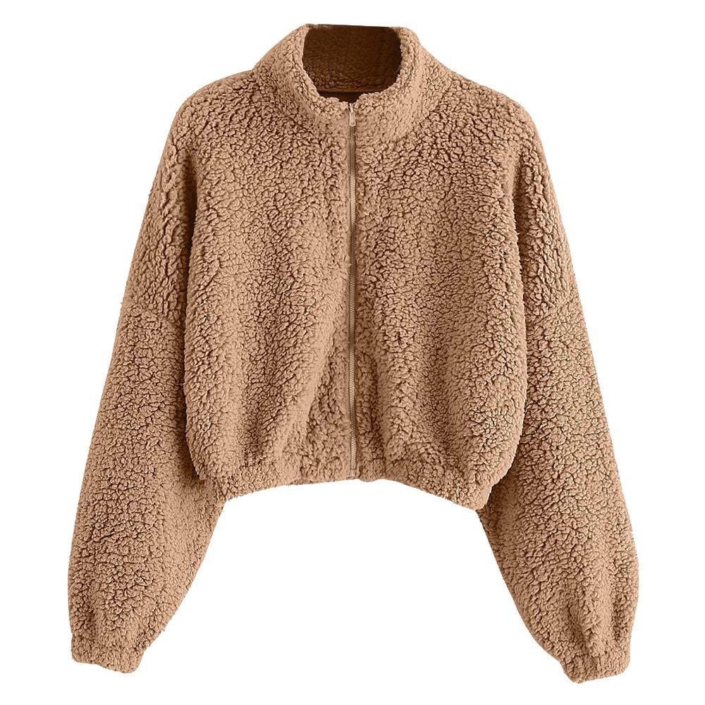 ZAFUL Women's Zip Up Faux Shearling Fluffy Hooded Cropped Teddy Jacket Coat