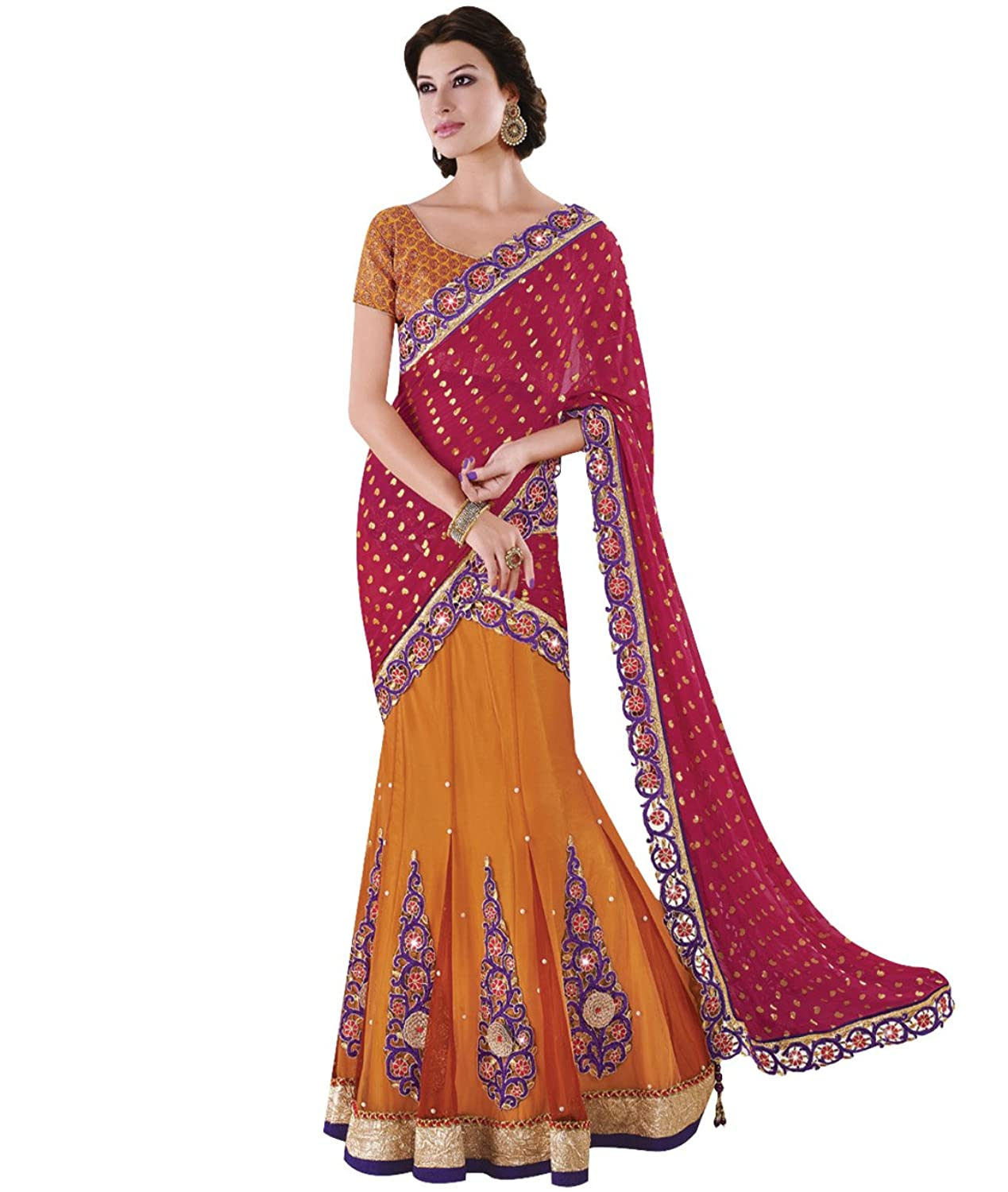 Indian Ethnic Bollywood Wedding Chiffon Red & Orange Designer Lehenga Saree