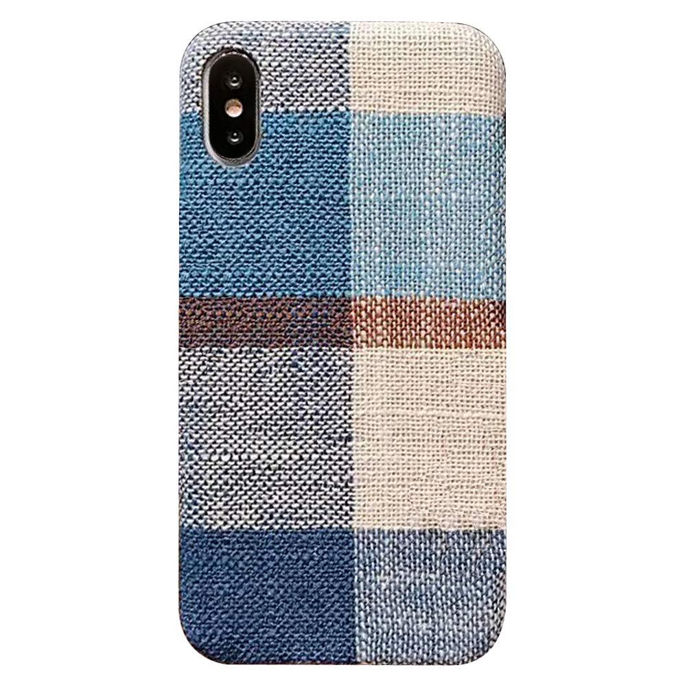 Felfy Custodia iPhone X Silicone Morbido, Okssud Cover iPhone 10 Blu Stoffa Creativo Design Scozzese Stile Sottile TPU Anti-Scratch Case DYY2018001608#05