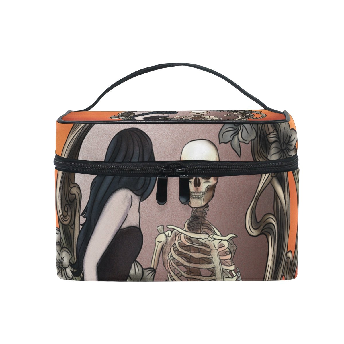 ALAZA Makeup Train Case Vintage Chic Floral Skull Mirror Queen Korean Carrying Portable Zip Travel Cosmetic Brush Bag Organizer Large for Girls Women