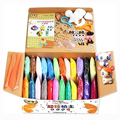 Air Dry Clay, Swallowzy 24 Colors DIY Fluffy Slime Kit Ultra Light Magic Modeling Clay Creative Modeling Dough with Modeling Clay Tools and Project Booklet