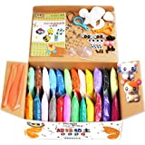 Swallowzy Air Dry Clay, 24 Colors DIY Fluffy Slime Kit Ultra Light Magic Modeling Clay Creative Modeling Dough with Modeling Clay Tools and Project Booklet