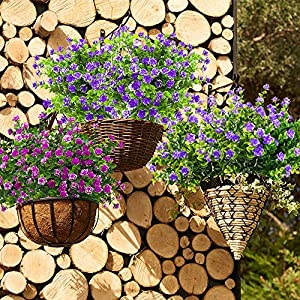 Artificial Flowers, Fake Outdoor UV Resistant Plants Faux Plastic Greenery Shrubs Indoor Outside Hanging Planter Home Kitchen Office Wedding Garden D¨¦cor 4