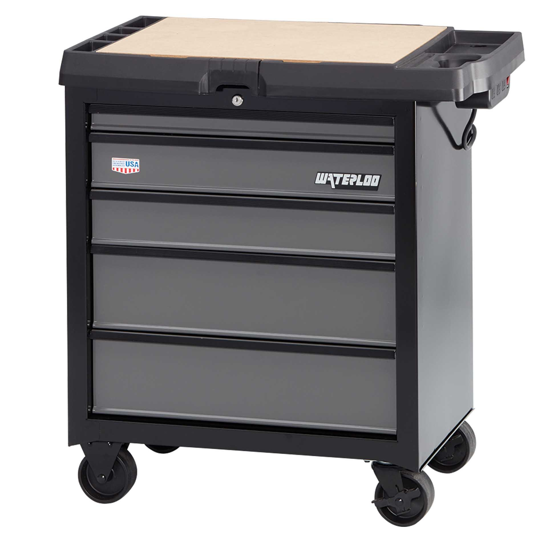Waterloo W100 Series 5-Drawer Mobile Workbench with Integrated Power Strip, 26'' W
