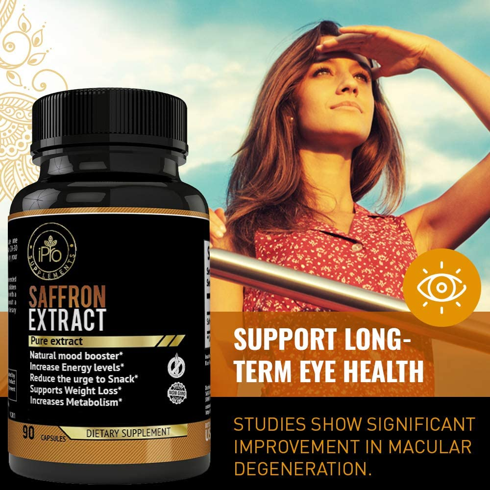 Pure Saffron Extract for Eye Health- Natural Appetite Suppressant Weight Loss Pills- Mood Booster Anti-Anxiety Saffron Supplement for Depression- Hunger Suppression for Women and Men-Saffron Capsules