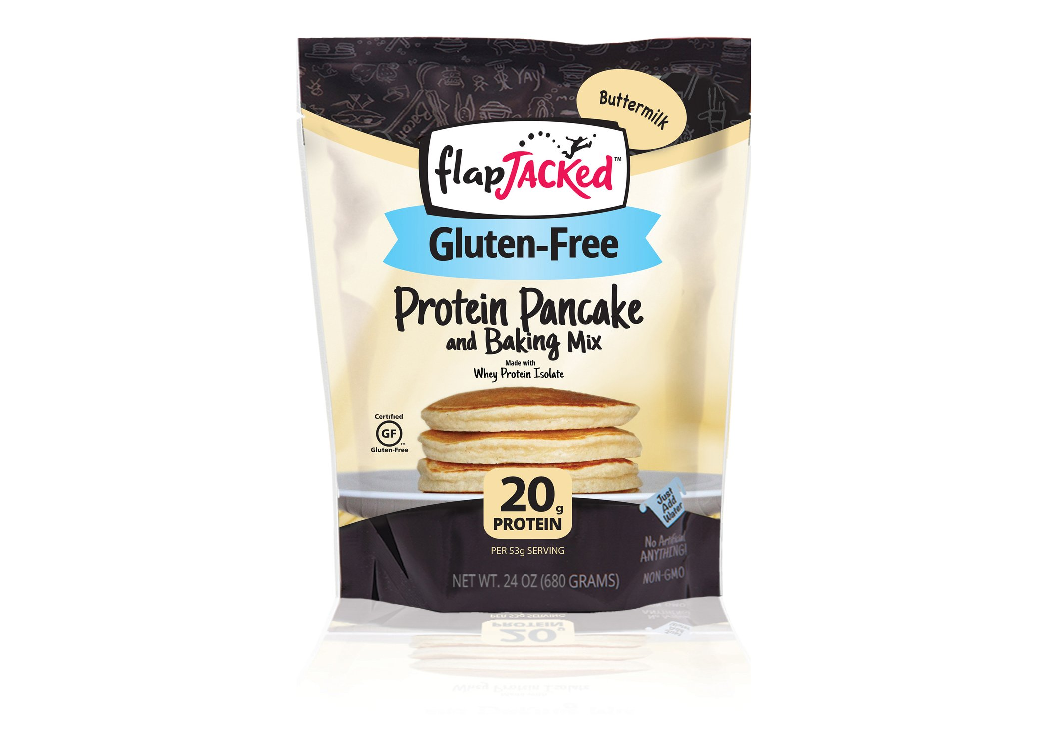 FlapJacked Gluten-Free Protein Pancake & Baking Mix, Buttermilk, 24oz by FlapJacked