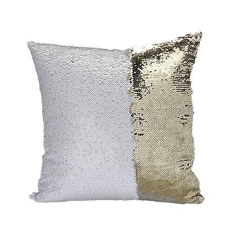 sonicee Fashion doble sirena de lentejuelas color brillante estilo europeo sofá cama funda de cojín de Auto Manta Funda de almohada, White + Gold, ...