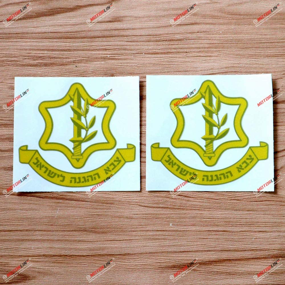2X Reflective 4 Inches Israel Defense Forces Badge IDF Decal Vinyl Sticker Car Laptop Window Gold no bkgrd