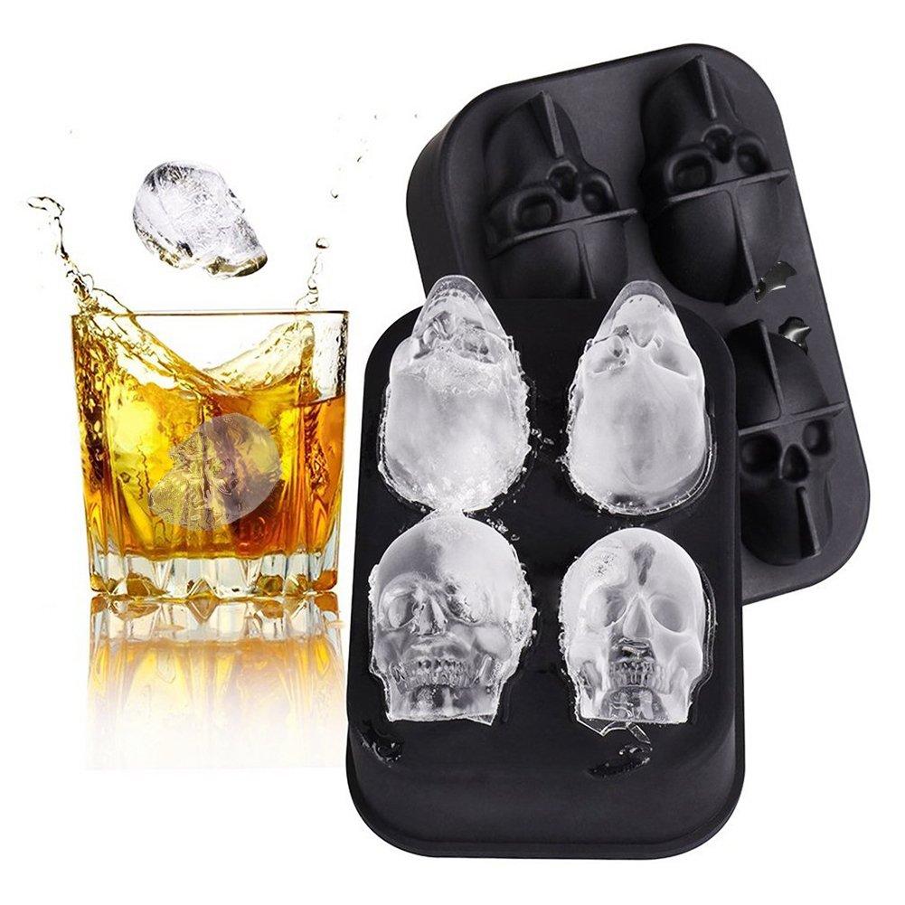 Compra Surenhap Molde de Bandeja de Cubitos de Hielo 3D, Hecho de Cuatro Calaveras vivas, Helado de Fabricante de categoría alimenticia y cóctel de Whisky ...