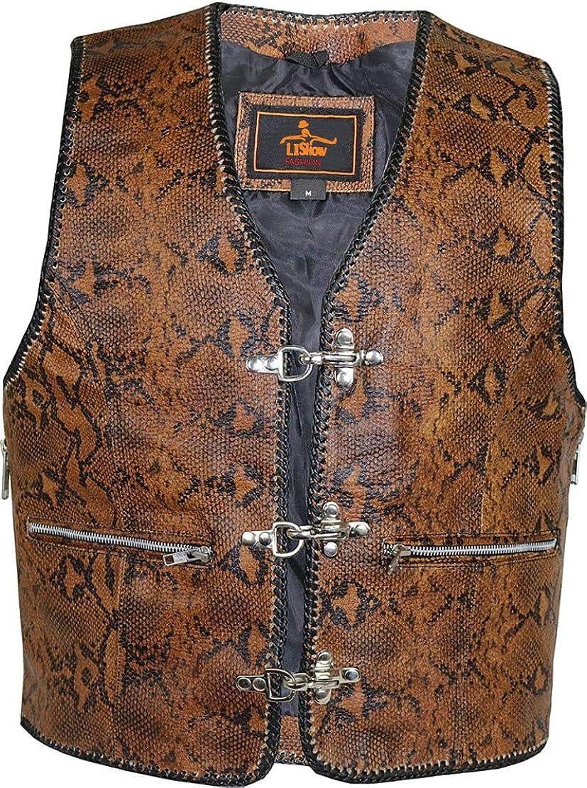 Motorcycle Vest Suede Buckle Biker Waistcoat Hand Braided Leather Motorbike Vest