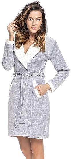dn-nightwear Damen Bademantel mit Kapuze SWD.9072: Amazon.de: Bekleidung
