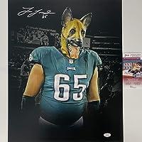 Autographed/Signed Lane Johnson Philadelphia Eagles Dog Mask 16x20 Football Photo JSA COA photo
