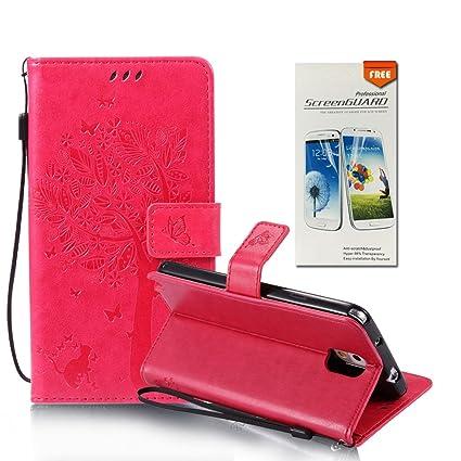 OuDu Funda Samsung Galaxy Note 3 Carcasa de Billetera Funda PU Cuero para Samsung Galaxy Note 3 Carcasa Suave Protectora - Rosa Caliente (Regalo:1 ...