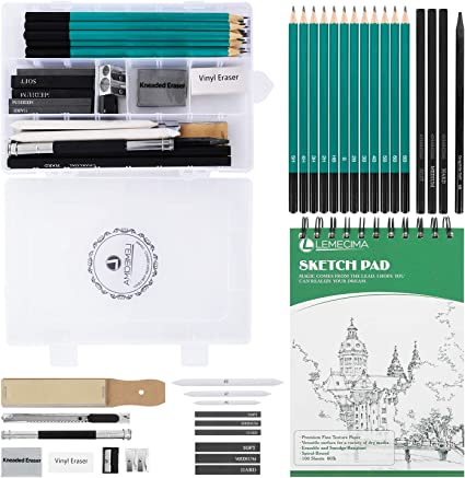 XL Drawing Set – Sketching, Graphite and Charcoal Pencils