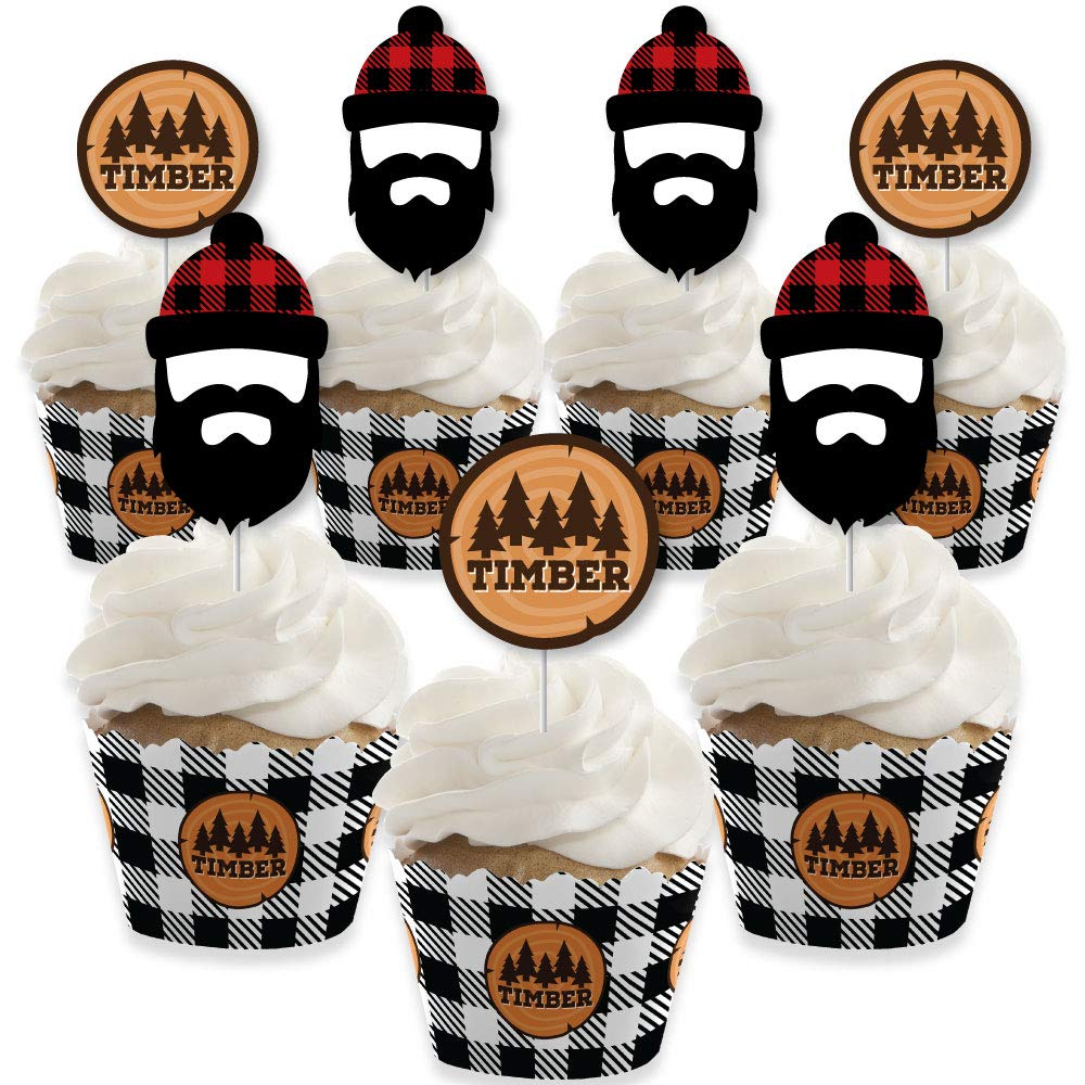 Lumberjack - Channel The Flannel - Cupcake Decoration - Buffalo Plaid Party Cupcake Wrappers and Treat Picks Kit - Set of 24