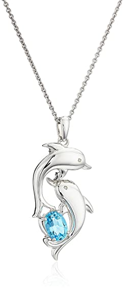 Amazon sterling silver blue topaz with diamond accent dolphin sterling silver blue topaz with diamond accent dolphin pendant necklace 18quot aloadofball Choice Image