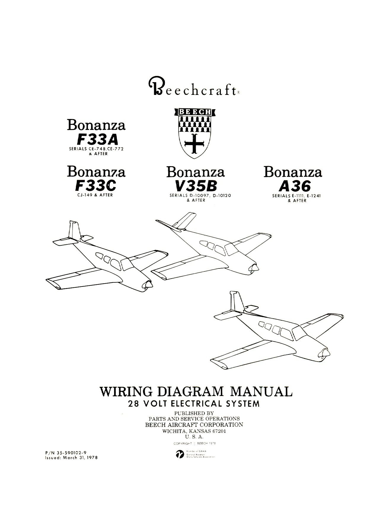 Beechcraft Bonanza F33A F33C V35B A36 Wiring Diagram 28V Electrical System  [Loose Leaf]: Beechcraft: Amazon.com: Books